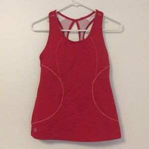 Athleta red bike workout tank built in bra small